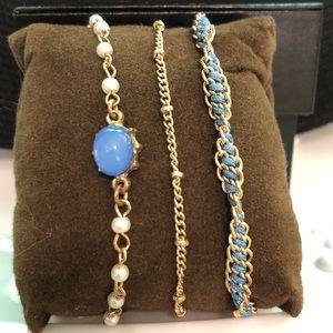 NWOT Lauren Conrad Blue & Gold Bracelet Trio